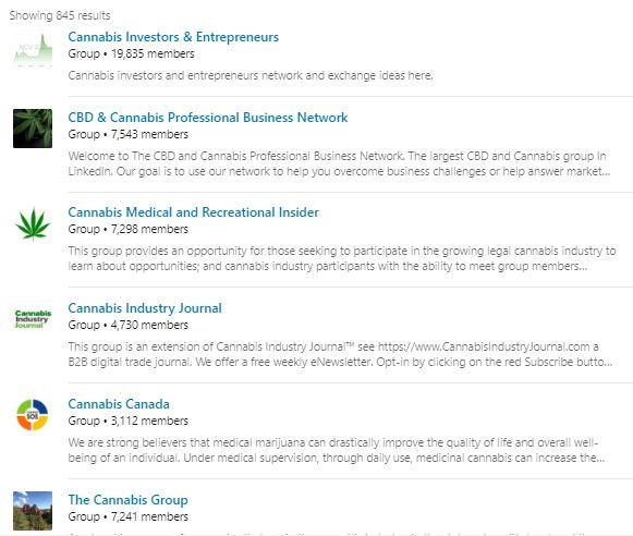 Cannabis Groups on Linkedin