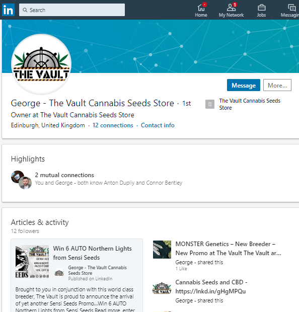 George from The Vault Cannabis Seeds Store on Linkedin