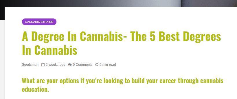 Seedsman - A Degree in Cannabis