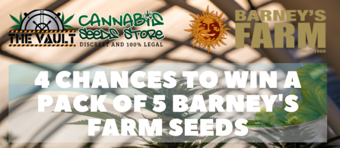 Barney's Farm Promo – Win a 5 Pack – 4 Prizes